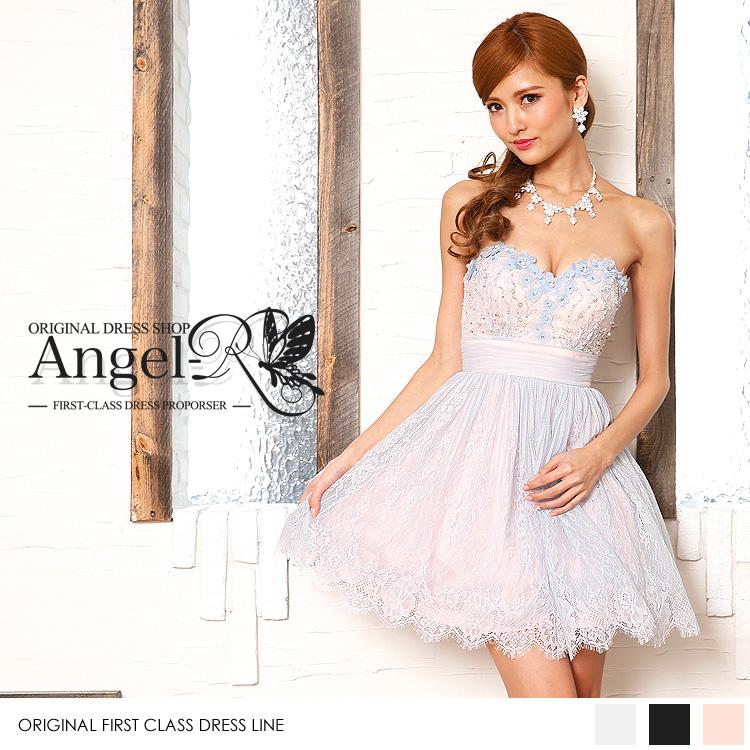 ふんわりシルエット ミニドレス メッシュ フラワーモチーフ レース刺繍 チュールスカート ベアトップ(AR7206)