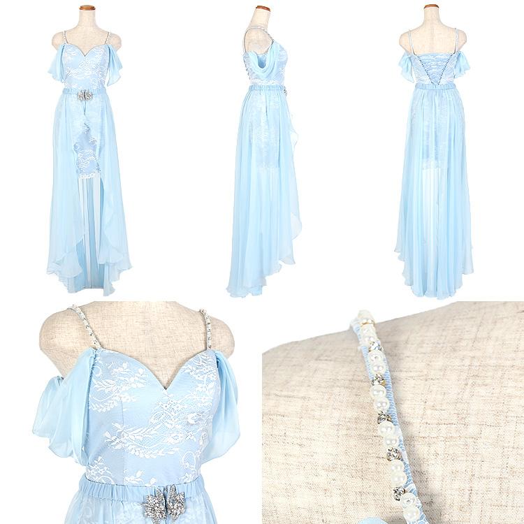 オーガンジーに包まれる2WAYドレス ショートinロング パール&ビジュー フラワーレース刺繍(AR7208)