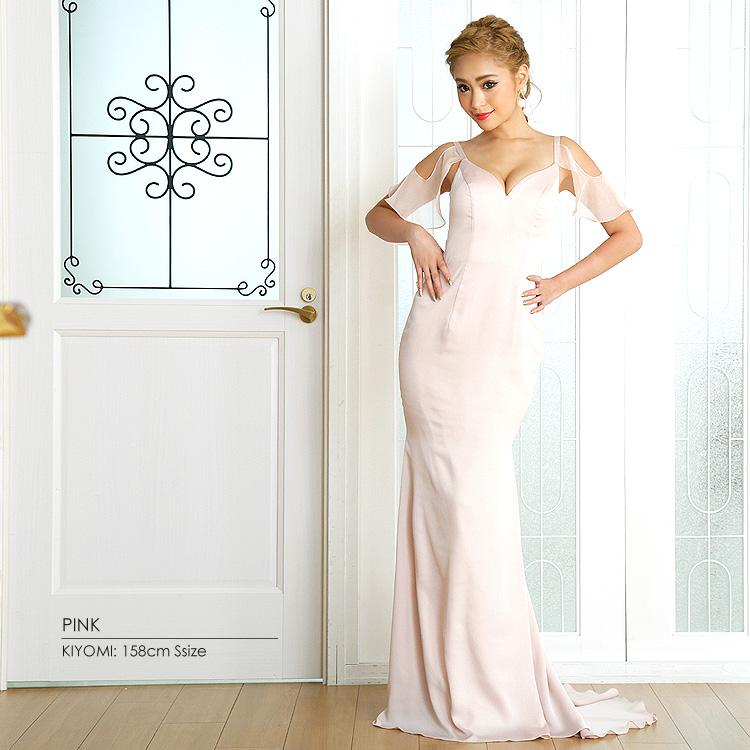 ロングドレス フリル リボン マーメイドドレス パステルカラー パーティー 女子会(AR7215)