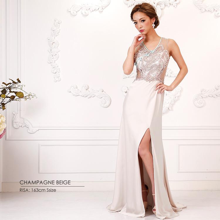 ロングドレス マーメイドドレス ノースリーブ ビーズ ビジュー スリット セクシー パーティー 女子会(AR7222)