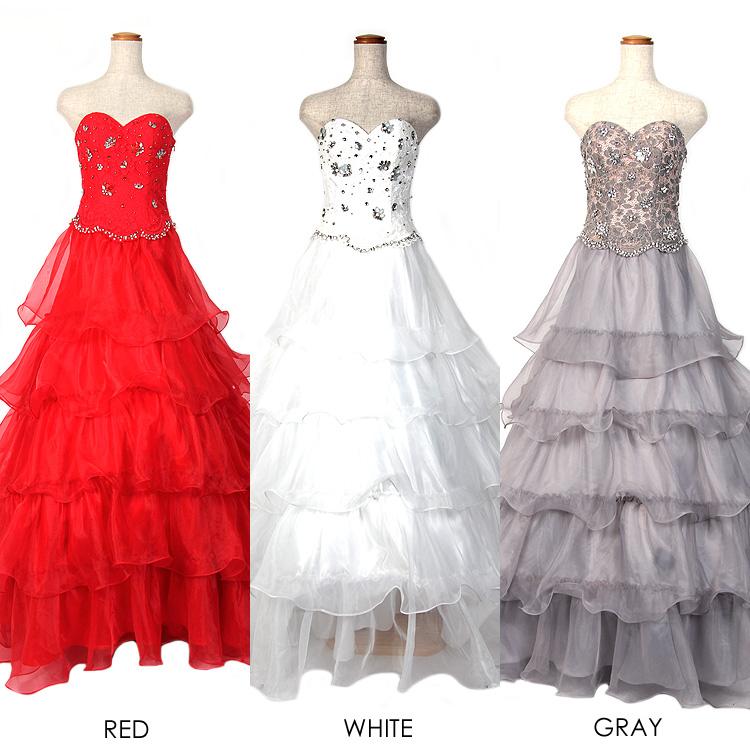 ウェディングドレス フラワー柄 レース刺繍 パール&ビジュー&ストーン ハイウエスト ベアトップ オーガンジー折り重なるロングドレス(AR7306)