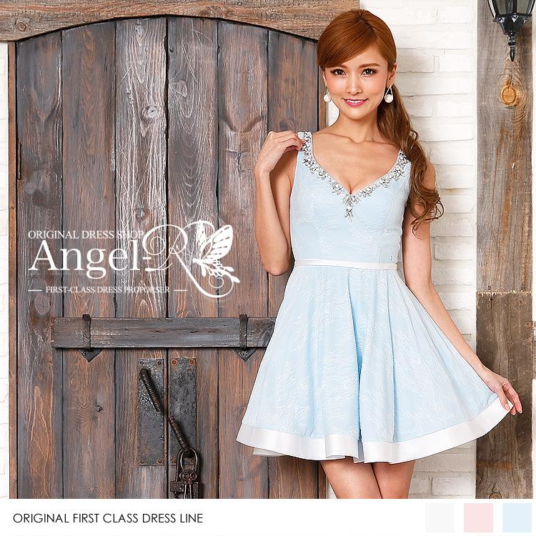 ミニドレス フレア ワンピース 花柄 ビジュー&ビーズ&パール ドレス(AR7307)