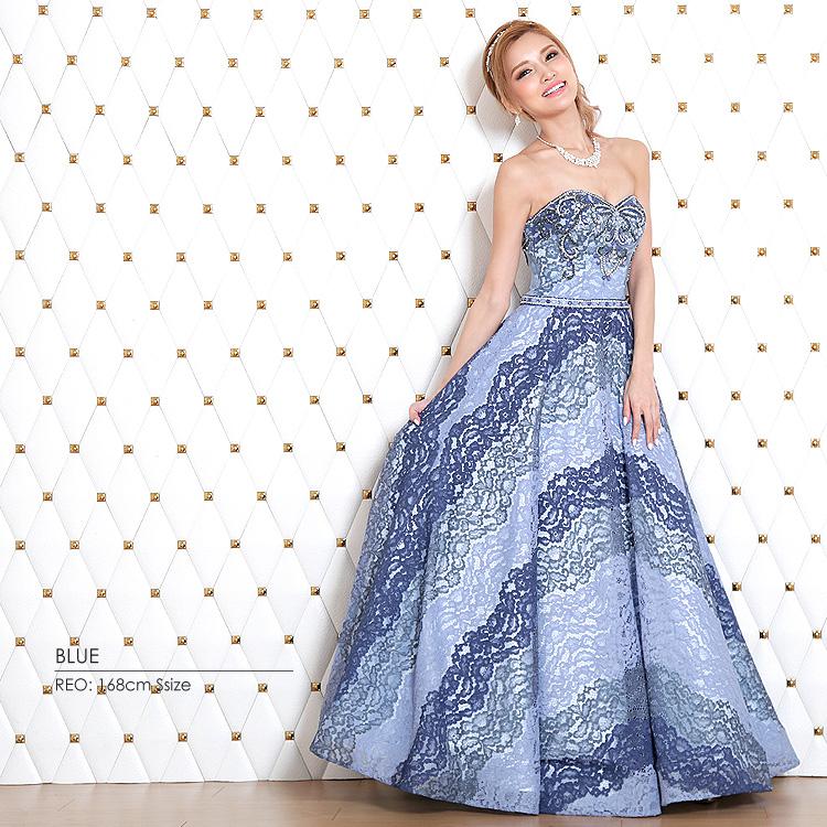 ロングドレス ウェディング フレア Aライン ビジュー フラワー刺繍 ベアトップ パーティー 結婚式 ブライダル(AR7318)