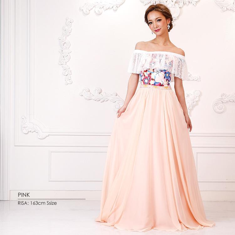 ロングドレス フレア オフショルダー  ワンピース 花柄  ビジュー パーティー 女子会(AR7323)