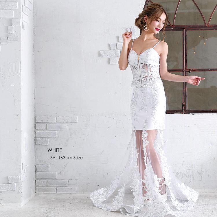 ロングドレス マーメイドドレス 2ピース 刺繍  ビジュー ビーズ 細い セクシー 露出 パーティー 女子会(AR7339)