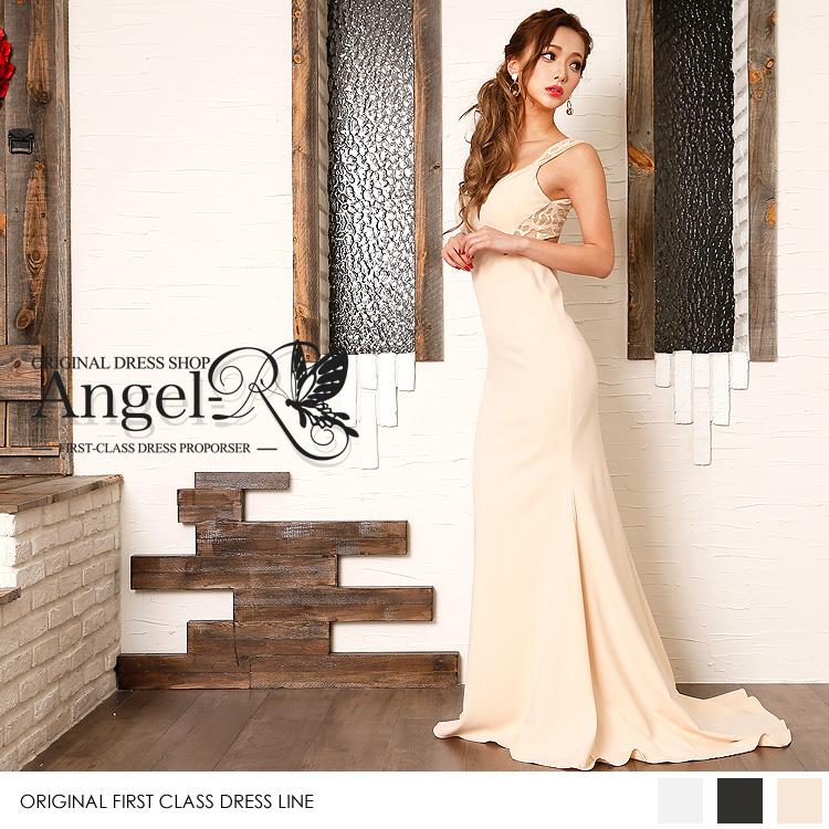 ロングドレス レース刺繍 背中開き マーメイドドレス(AR7706)