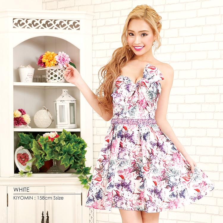 ミニドレス フレア 花柄 フラワー ビジュー ストーン リボン ワンピース 細い ストレッチ 伸縮性 パーティー 女子会