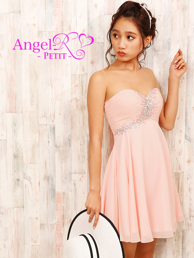 胸元ギャザー斜めビジュー飾り付きフレアミニドレス