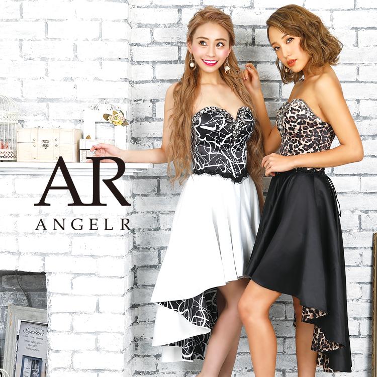 フラワーレース刺繍のオーガンジー タイト系ショートインロングドレス